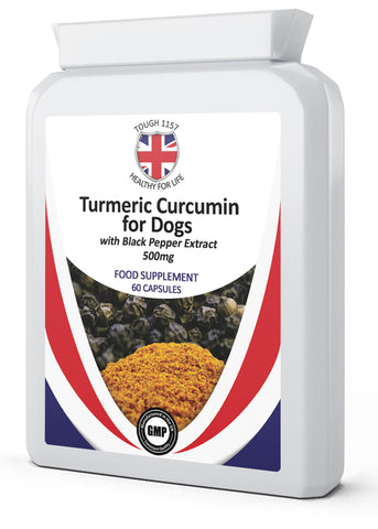 Turmeric Curcumin for Dogs with Black Pepper Extract Food Supplement  500mg 60 Capsules