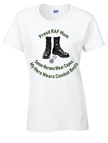 Bear Essentials Clothing Proud RAF Mum T-Shirt (S, White)