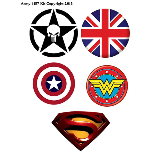 5 mix Button Superman, Wonder Woman, Captain America's, Skull, (Size is 1.5 inch/38mm diameter) - Army 1157 Kit  Veterans Owned Business