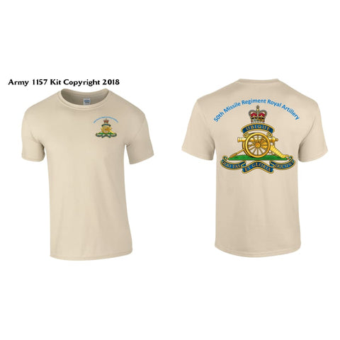 50 Missile Regiment T-Shirt Front & Back Logo Official Mod Approved Merchandise - T Shirt