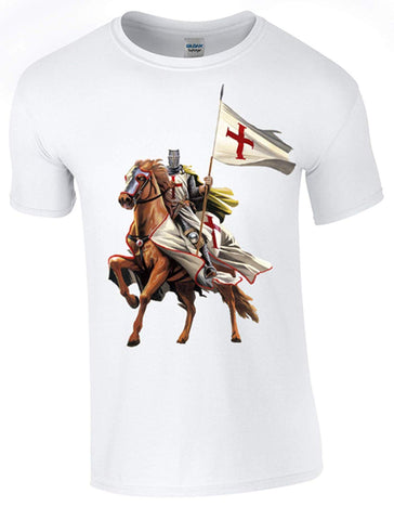 Bear Essentials Clothing. St George's Day - on Horseback - T-Shirt Printed DTG (Direct to Garment) for a Permanent Finish.
