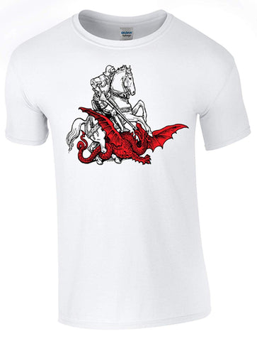 Bear Essentials Clothing. St George's Day Dragon Slaying T-Shirt Printed DTG (Direct to Garment) for a Permanent Finish.