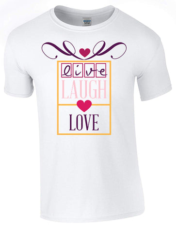 Bear Essentials Clothing. Live, Laugh, Love T-Shirt Printed DTG (Direct to Garment) for a Permanent Finish