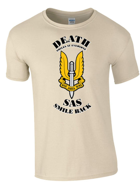Death Smiles SAS Smile Back, Emblem T-Shirt - Army 1157 Kit  Veterans Owned Business