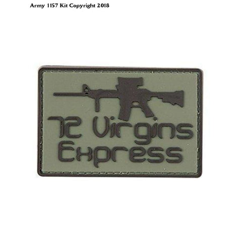 72 Virgin Express Funny PVC Rubber Badge Military Tactical Patch Velcro Back - Army 1157 Kit  Veterans Owned Business