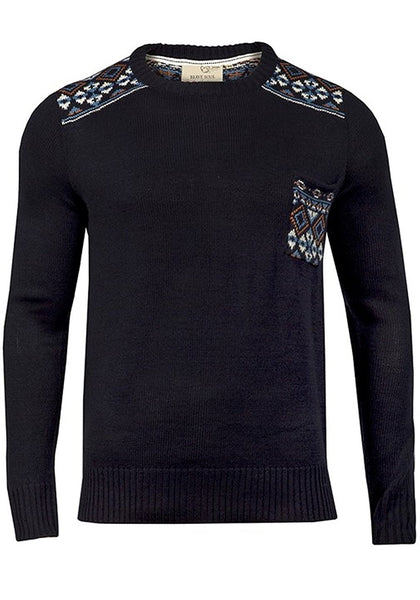 Bear Essentials Clothing Company Brave Soul Mens Pattern Knitted Pullover (S, Blue) - Army 1157 Kit  Veterans Owned Business