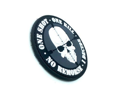 One Shot One Kill No Remorse I Decide Sniper PVC Airsoft Patch - Army 1157 Kit  Veterans Owned Business