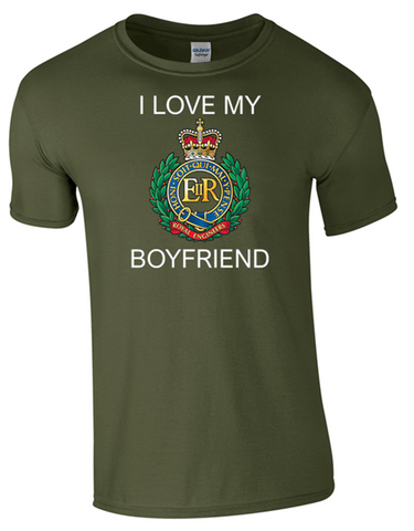 I Love my Royal Engineer (RE) Boyfriend T-Shirt Official MOD Approved Merchandise