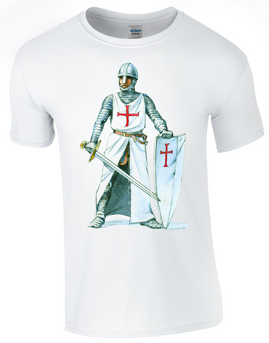 St George's Day  Crusader T-Shirt Printed DTG (Direct to Garment) for a Permanent Finish.