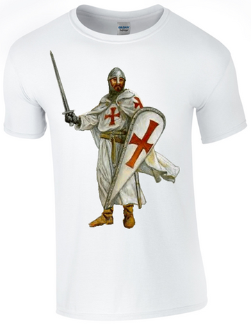 St George's Crusader, black & white T-Shirt Printed DTG (Direct to Garment) for a Permanent Finish.