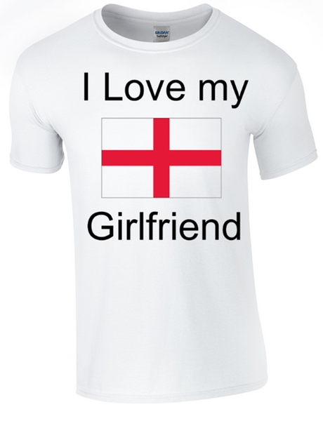 Valentine I Love my English Girlfriend Printed DTG (Direct to Garment) for a permanent finish. - Army 1157 Kit  Veterans Owned Business