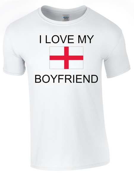 Valentine I Love my English Boyfriend Printed DTG (Direct to Garment) for a permanent finish. - Army 1157 Kit  Veterans Owned Business