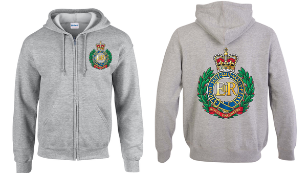Ministry of Defence Zip Hoodie with Royal Engineers Logo Front and Back. Official MOD Approved Merchandise - Army 1157 Kit  Veterans Owned Business