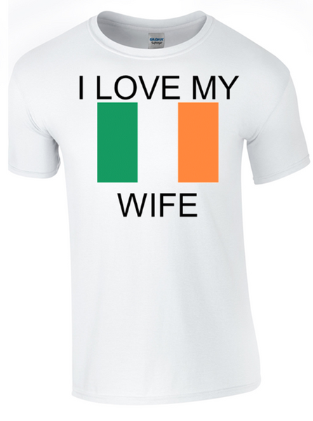 I Love my Irish Wife Printed DTG (Direct to Garment) for a permanent finish.