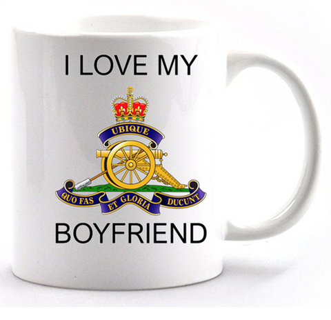 Valentine I Love my Royal Artillery Boyfriend Mug and Gift box set  Ministry of Defence Official MOD Approved Merchandise - Army 1157 Kit  Veterans Owned Business