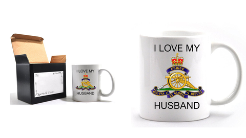 Valentine Royal Artillery I Love my Husband Mug and Gift Box set Ministry of Defence Official MOD Approved Merchandise