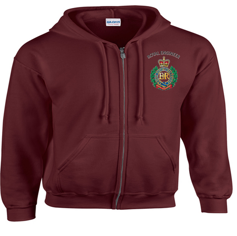 Royal Engineer Zipped Hoodie, printed DTG front and Back
