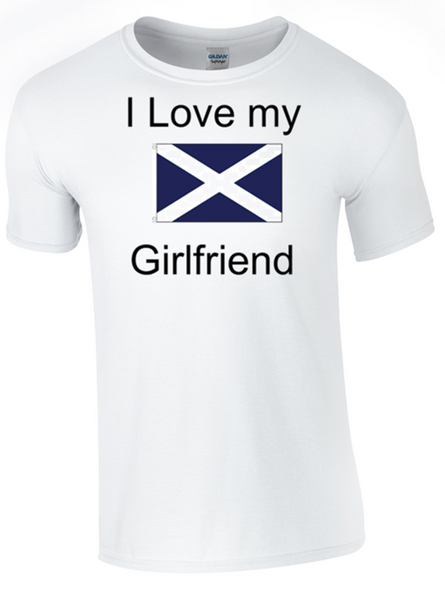 I Love my Scottish Girlfriend Printed DTG (Direct to Garment) for a permanent finish.