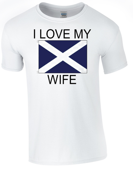 I Love my Scottish Wife Printed DTG (Direct to Garment) for a permanent finish.