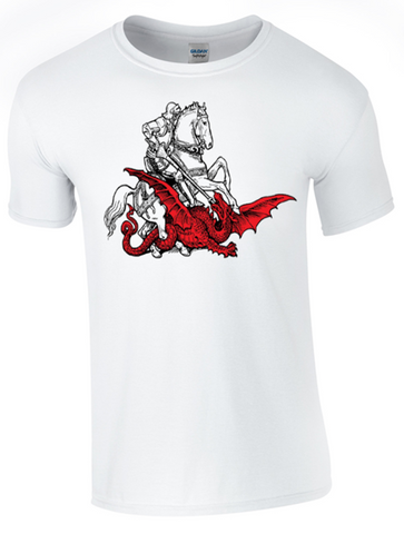 St George's Day Dragon Slaying T-Shirt Printed DTG (Direct to Garment) for a Permanent Finish.