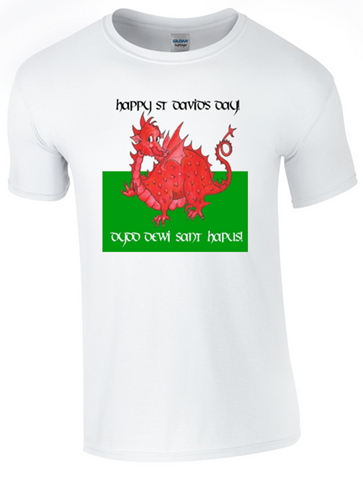 St David's Day T-Shirt Printed DTG (Direct to Garment) for a Permanent Finish.