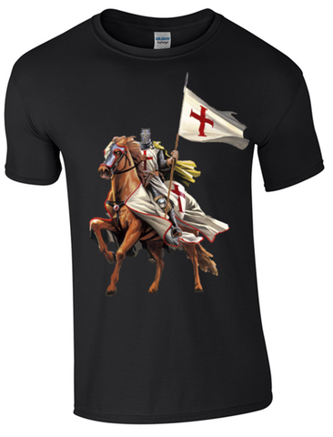 St George's Day  - on Horseback - T-Shirt Printed DTG (Direct to Garment) for a Permanent Finish.