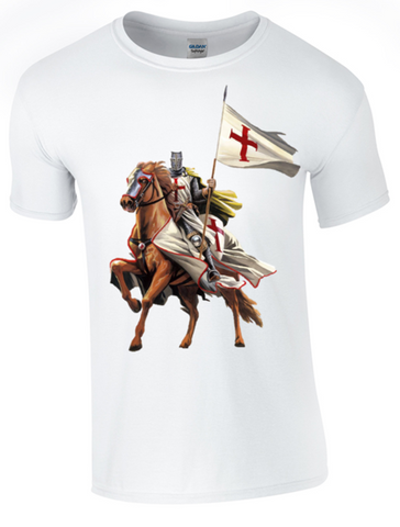 St George's Day  - on Horseback - T-Shirt Printed DTG (Direct to Garment) for a Permanent Finish. - Army 1157 Kit  Veterans Owned Business