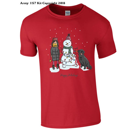 A Winters Scene T-Shirt Part Of The Army 1157 Kit Christmas Collection - S / Red - T Shirt