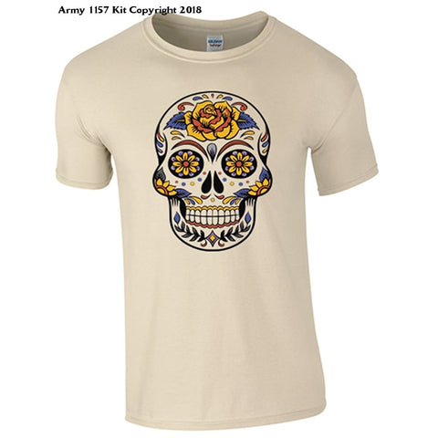 Bear Essentials Clothing. Candy Skull T-Shirt - Army 1157 Kit  Veterans Owned Business
