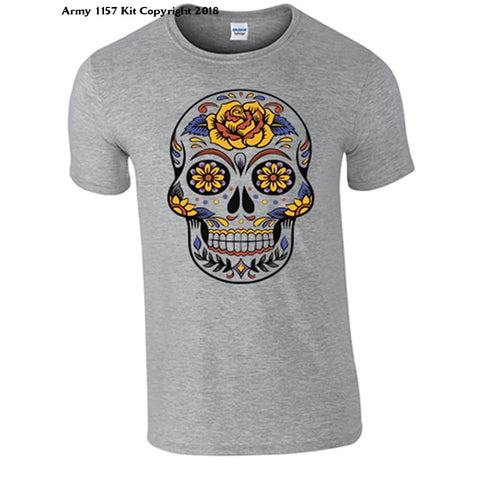 Bear Essentials Clothing. Candy Skull T-Shirt - Small / Grey - Apparel