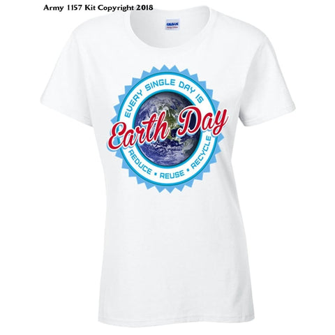 Bear Essentials Clothing. Earthday Womens T-Shirt - 10 / White - Apparel