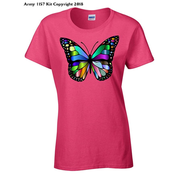 Bear Essentials Clothing. Glass Butterfly T-Shirt - 10 / Rose - Apparel
