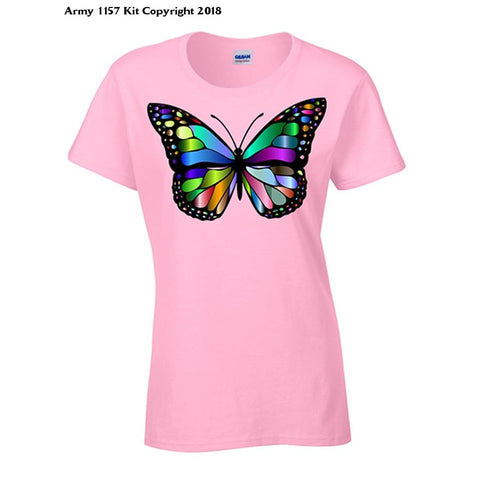 Bear Essentials Clothing. Glass Butterfly T-Shirt - 14 / Pink - Apparel