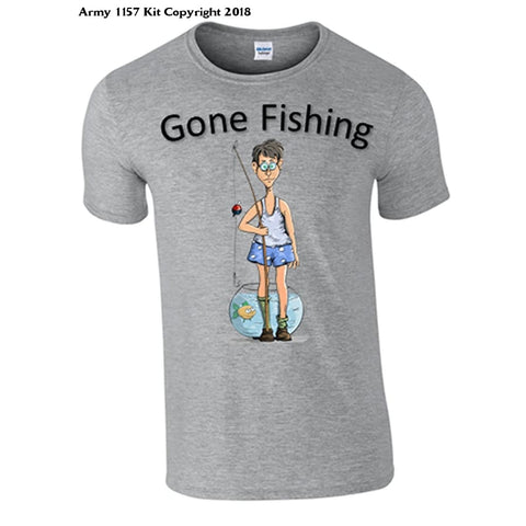 Bear Essentials Clothing. Gone Fishing T-Shirt (Medium Grey) - Medium / Grey - Apparel