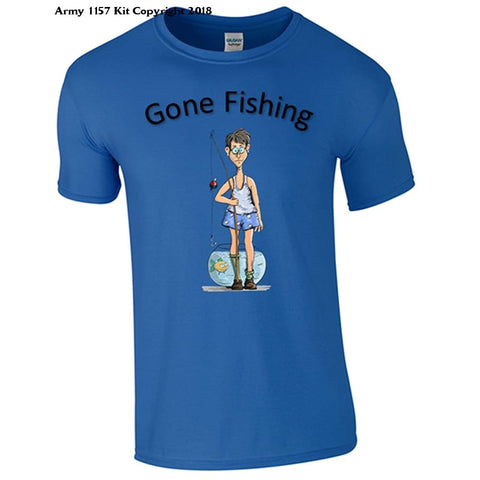 Bear Essentials Clothing. Gone Fishing T-Shirt (Medium Grey) - Large / Blue - Apparel