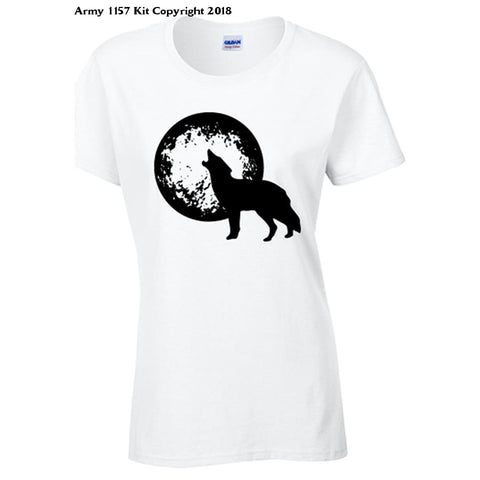 Bear Essentials Clothing. Howl at The Moon T-Shirt (S, White) - Army 1157 Kit  Veterans Owned Business