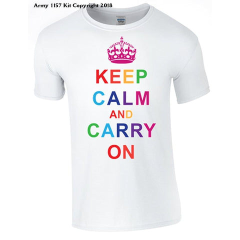Bear Essentials Clothing. Keep Calm And Carry On T-Shirt - Small / White - Apparel