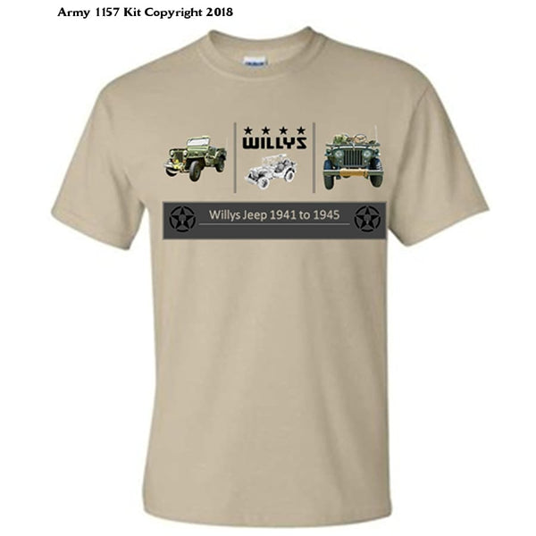 Bear Essentials Clothing. Willys Jeep T-Shirt - Army 1157 Kit  Veterans Owned Business