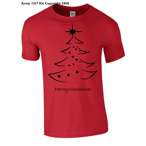 Black Outlined Christmas Tree Part Of The Army 1157 Kit Christmas Collection - S / Red - T Shirt