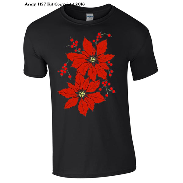 Christmas Poinsetta T-Shirt Part Of The Army 1157 Kit Christmas Collection - S / Black - T Shirt