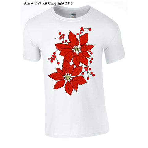 Christmas Poinsetta T-Shirt Part Of The Army 1157 Kit Christmas Collection - S / White - T Shirt