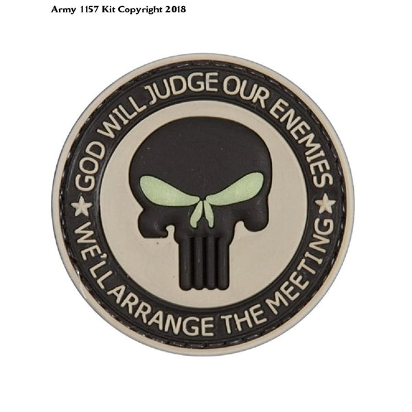 God Will Judge Our Enemies Tan Pvc Airsoft Velcro Patch - 50Mm / Black - Apparel