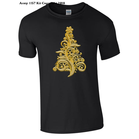 Golden Christmas Tree Part Of The Army 1157 Kit Christmas Collection - S / Black - T Shirt