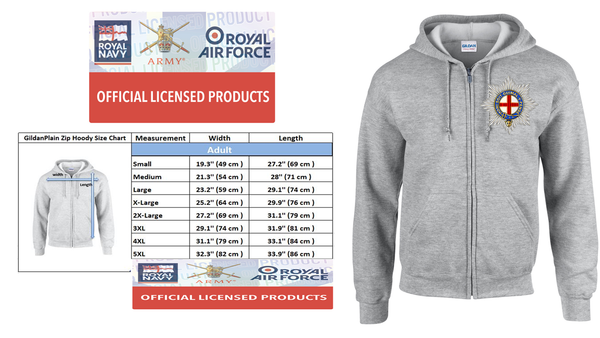 Ministry of Defence Zip Hoodie with Cold Stream Guards Logo Front only Official MOD Approved Merchandise - Army 1157 Kit  Veterans Owned Business