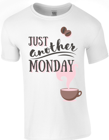 Just Another Monday T Shirt in White - Army 1157 Kit  Veterans Owned Business