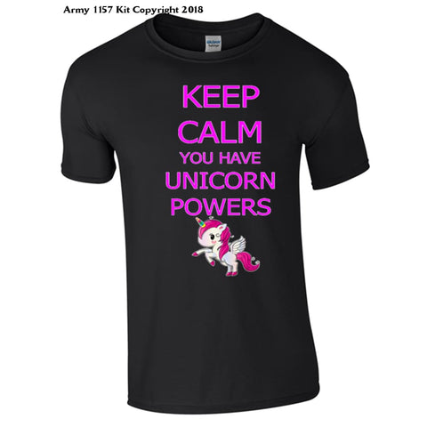 Keep Calm Unicorn T-Shirt - 7-8 Yrs / Black - T Shirt