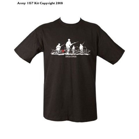 Mens Cotton Army Print Combat Printed Military T-Shirt Tshirt Ww1 World War 1 1914-1918 - Small = Chest 86-91Cm Or 34-36 Inch / Black -