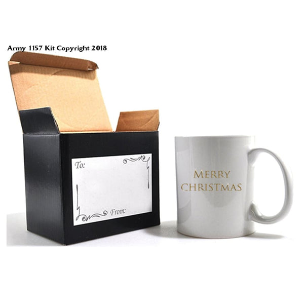 Merry Christmas Mug and gift box set. Part of the Army 1157 Kit Christmas Collection - Army 1157 Kit  Veterans Owned Business