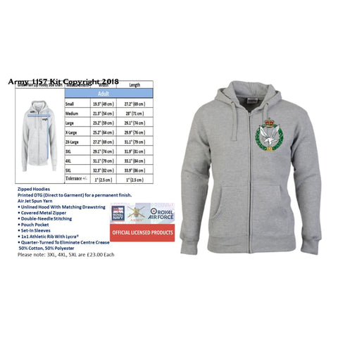 Ministry of Defence Zip Hoodie with Army Air Corps Logo Front only Official MOD Approved Merchandise - Army 1157 Kit  Veterans Owned Business