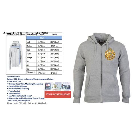 Ministry Of Defence Zip Hoodie With Army Air Corps Logo Front Only Official Mod Approved Merchandise - S - Hoodie
